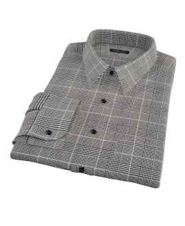 Heavy Black Houndstooth Men's Dress Shirt 