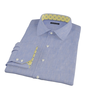 Light Blue Linen-Effect Fitted Shirt
