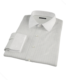 Light Blue Satin Stripe Custom Dress Shirt 