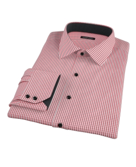 Red Medium Check Custom Dress Shirt 