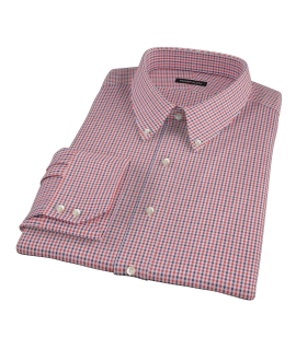 Red and Navy Mini Gingham Men's Dress Shirt