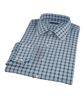 Thompson Light Blue Plaid Fitted Dress Shirt