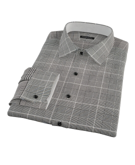 Heavy Black Houndstooth Fitted Shirt