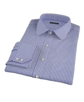 Small Blue 100s Gingham Fitted Shirt