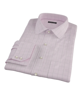 Pink Black Window Grid Fitted Shirt 