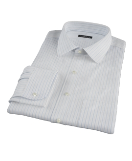 Albini Light Blue Satin Stripe Men's Dress Shirt