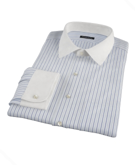 Chambers Wrinkle-Resistant Navy Light Blue Stripe Fitted Shirt