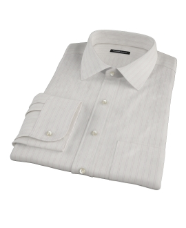 Light Pink Satin Stripe Fitted Dress Shirt