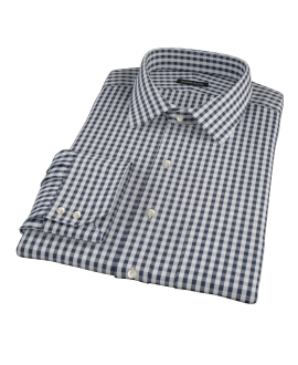 Dark Navy Gingham Custom Dress Shirt