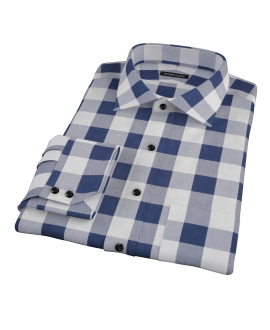 Extra Large Navy Gingham Custom Made Shirt