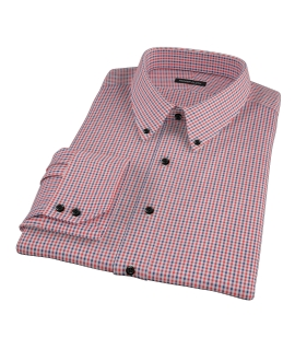 Red and Navy Mini Gingham Fitted Shirt