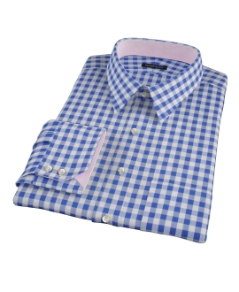 Royal Blue Large Gingham Custom Made Shirt