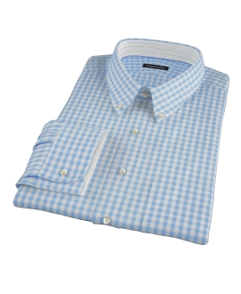 Light Blue Gingham Fitted Shirt 
