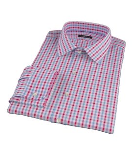 Light Blue and Red Gingham Fitted Shirt 