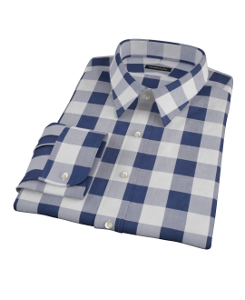 Extra Large Navy Gingham Dress Shirt