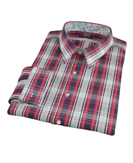 Large Red and Blue Plaid Fitted Dress Shirt 