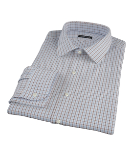 Light Blue and Brown Mini Gingham Custom Dress Shirt 