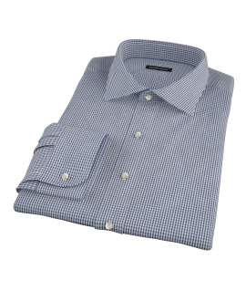 100s Navy Mini Gingham Fitted Shirt 