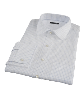Light Blue Check Fitted Dress Shirt 
