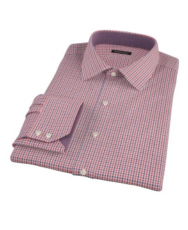 Canclini Red and Navy Mini Gingham Custom Dress Shirt