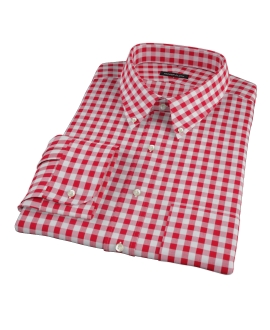 Red Large Gingham Fitted Dress Shirt 