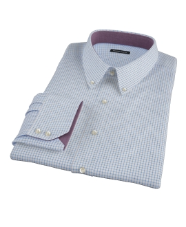 Light Blue Grid Custom Dress Shirt 