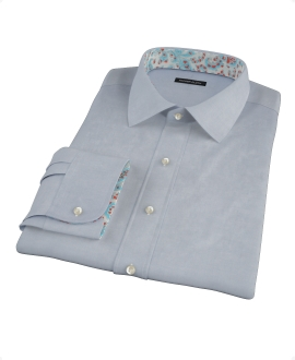 Bowery Navy Wrinkle-Resistant Pinpoint Fitted Shirt 