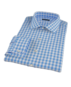 Light Blue Large Gingham Fitted Dress Shirt
