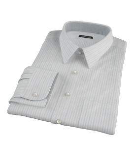 Light Blue Gray Dobby Stripe Fitted Dress Shirt