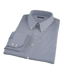 100s Navy Mini Gingham Men's Dress Shirt 
