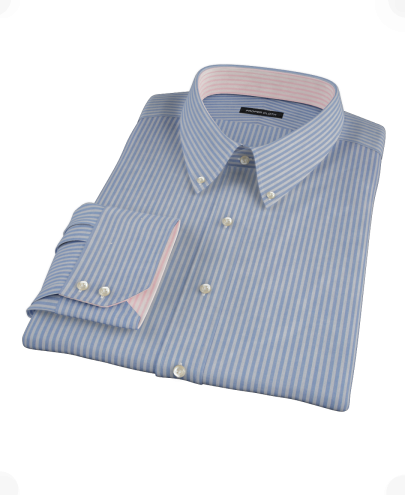 French Blue Stripe Fitted Dress Shirt