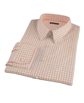 Medium Light Orange Gingham Custom Dress Shirt 