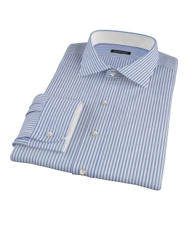 Blue Wrinkle Resistant Bordered Stripe Tailor Made Shirt 