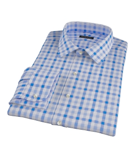Light Blue and Blue Gingham Custom Made Shirt 
