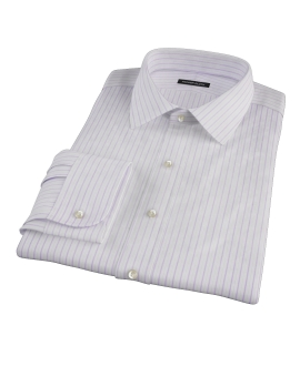 Albini Lavender Satin Stripe Men's Dress Shirt 