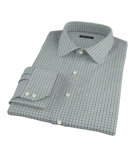 Canclini Green and Blue Mini Gingham Tailor Made Shirt