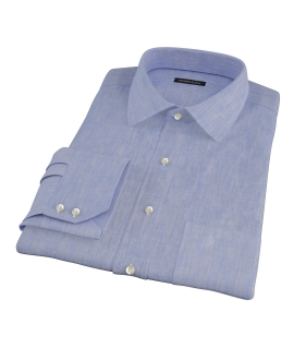 Light Blue Linen-Effect Dress Shirt