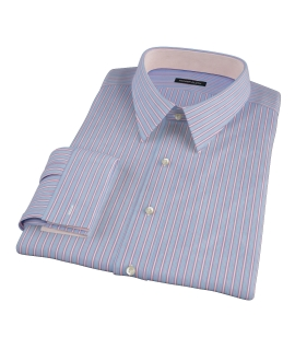 Light Blue and Pink Multi-Stripe Fitted Dress Shirt