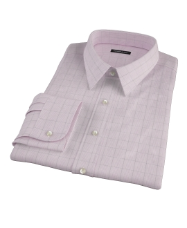 Pink Black Window Grid Men's Dress Shirt 