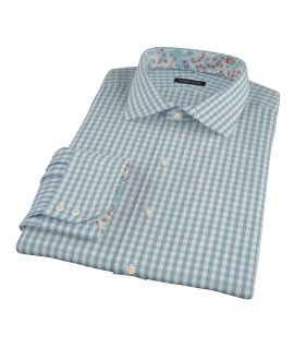 Slate Blue Gingham Fitted Shirt 