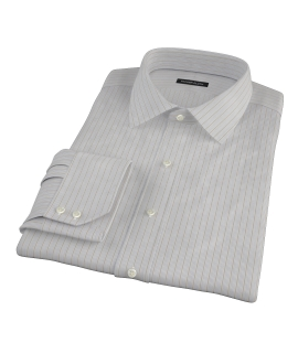 Tan and Blue Multi Stripe Men's Dress Shirt