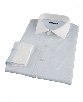 100s Light Blue Stripe Fitted Shirt