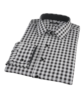 Black Large Gingham Men's Dress Shirt