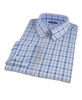 Light Blue and Blue Gingham Fitted Shirt
