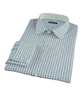 Slate Blue Gingham Custom Dress Shirt 