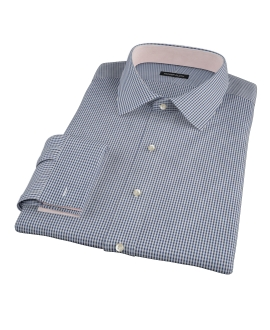 100s Navy Mini Gingham Dress Shirt