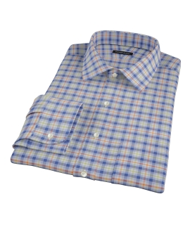 Blue Orange and Green Tartan Custom Dress Shirt 