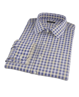 Blue and Yellow Gingham Oxford Custom Made Shirt