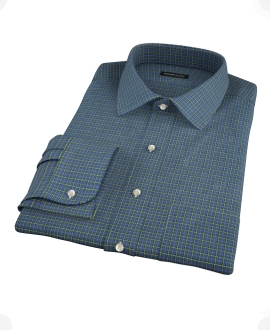 Navy Yellow Tartan Custom Dress Shirt 