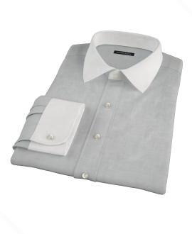 Light Gray Herringbone Dress Shirt